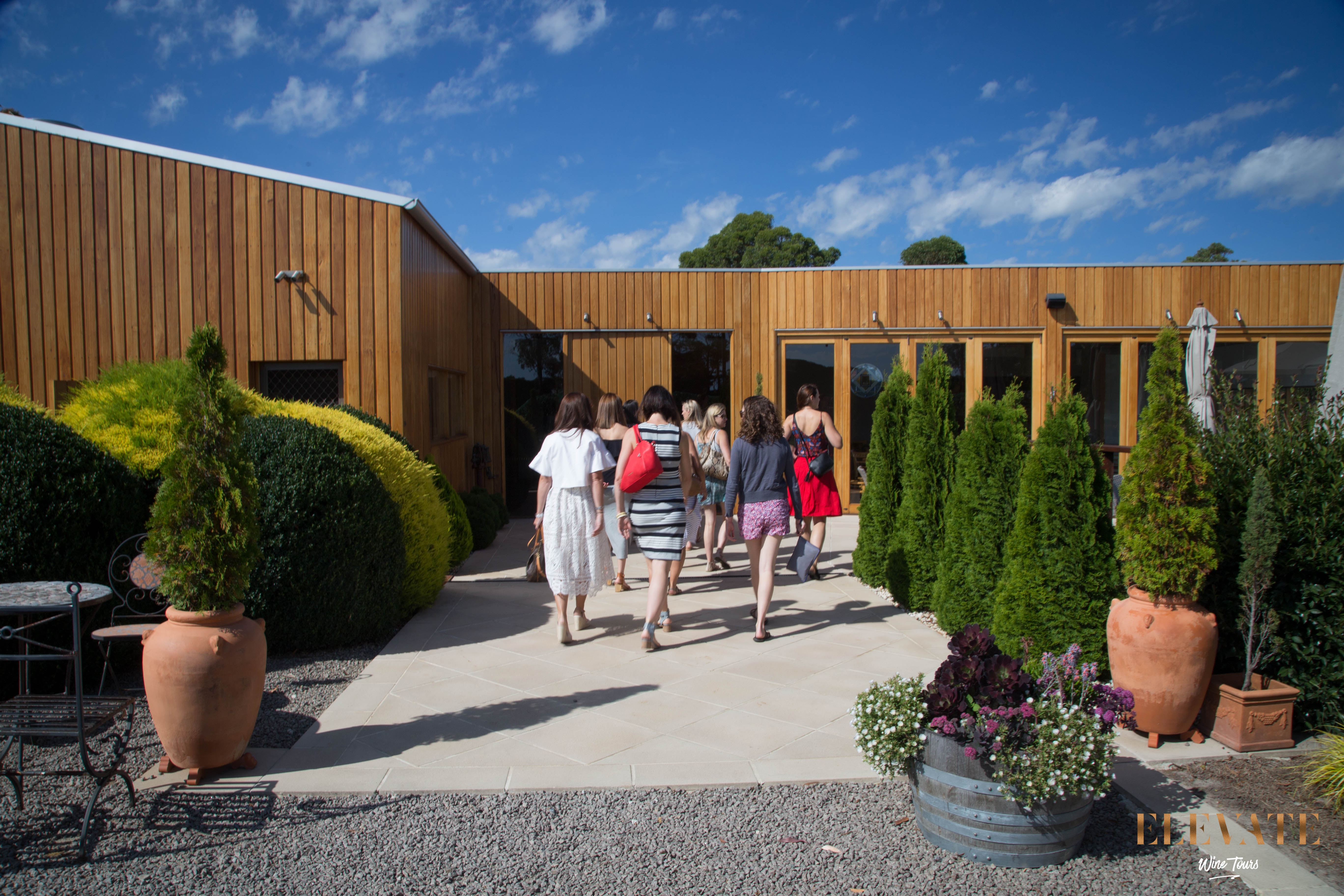 Walking in to the cellar door to try some wine at Stumpy Gully Vineyard