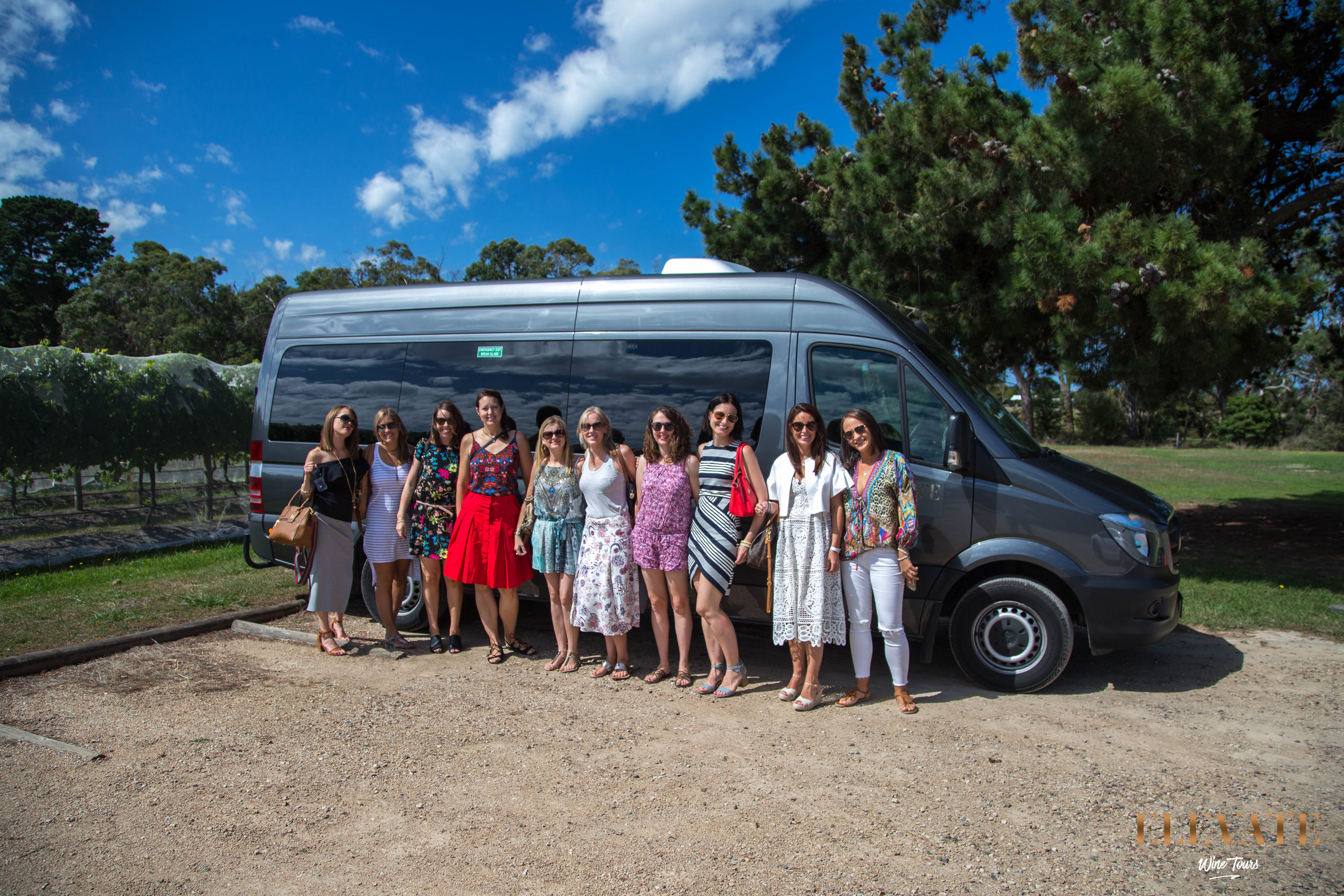 Picture of Elevate Wine Tours vehicle and tour group