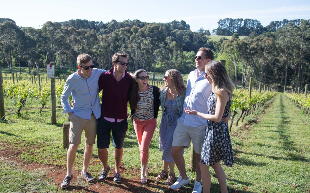 Uk friends on a winery tour of the Mornington Peninsula